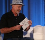 Simple Signal CEO Dave Gilbert shows off a napkin diagram, at CloudBeat 2013.