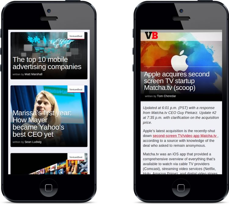 VentureBeat's new mobile site, powered by Zemanta Streams.