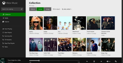 Xbox Music collection screen