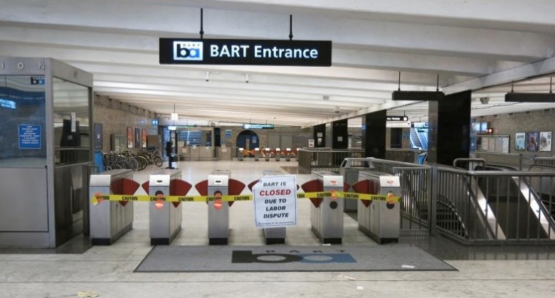 Turnstiles are closed at BART stations in the San Francisco Bay Area due to a strike.