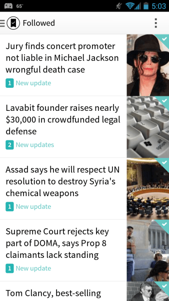 Circa News for Android – Followed Storylines Screen