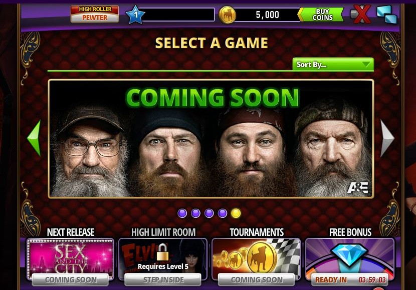 Duck Dynasty and Sex in the City tables are coming to Zynga's Hit It Rich Facebook game.