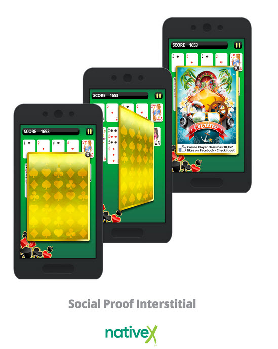 NativeX social proof interstitial ad