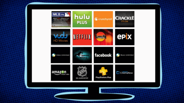 An example of some of the movie and video-content services for PlayStation 4.