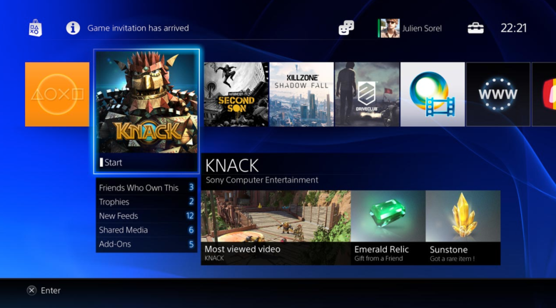PlayStation 4 game menu.