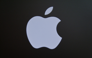 apple logo on grey