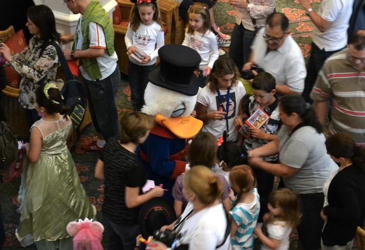 Scrooge McDuck, the ultimate entrepreneur, works the crowd.