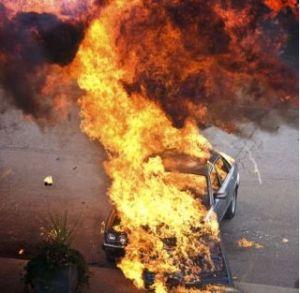 A car fire (not a Tesla).