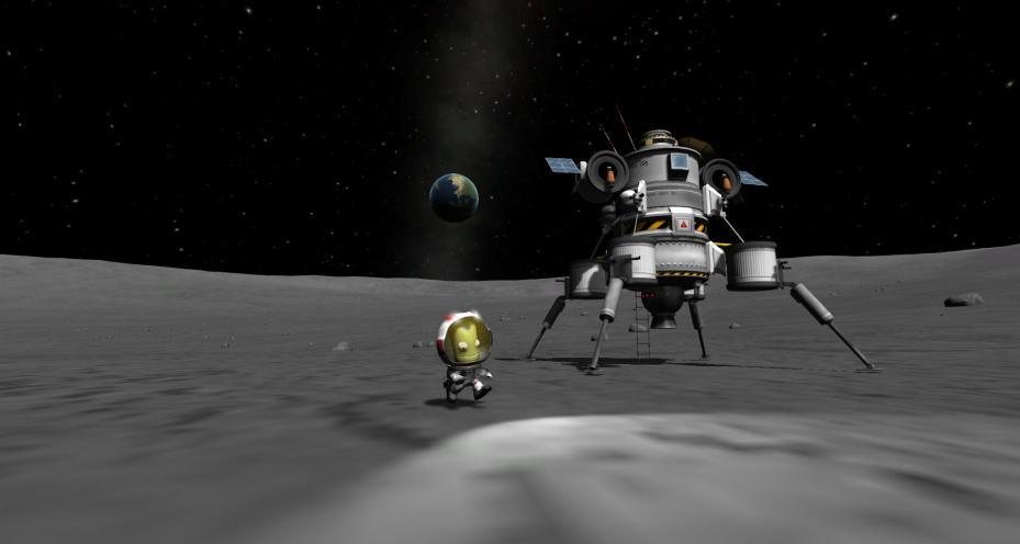 A moon landing in Squad's Kerbal Space Program.