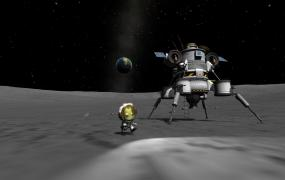 A moon landing in Squad's Kerbal Space Program.