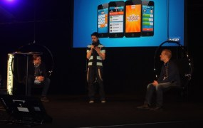MAG Interactive's Daniel Hasselberg with Nokia's Walter Masalin at Slush