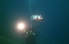 The OpenROV on an expedition with a diver