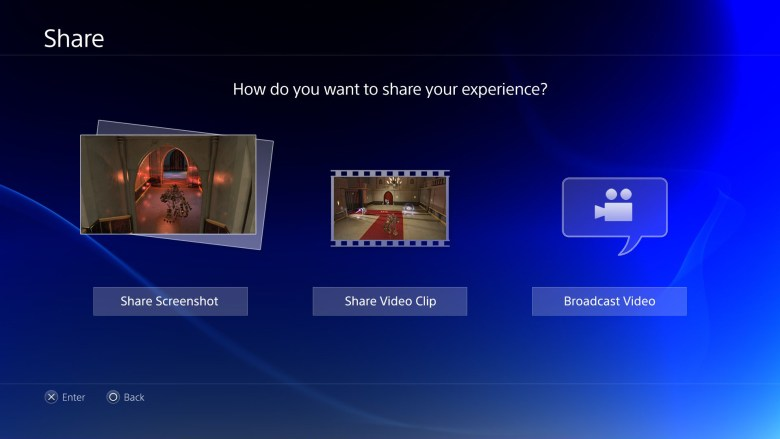 The sharing menu on PlayStation 4.