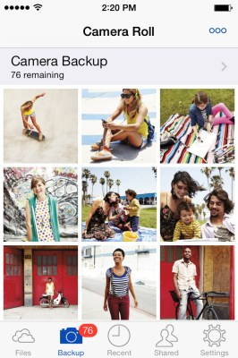 "SkyDrive's ""Camera Backup"" feature in action on iOS"