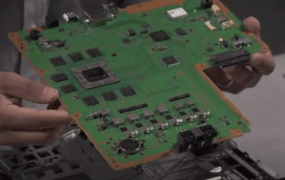 The Sony PlayStation 4's motherboard. Once the cover has been removed, this board pops out easily