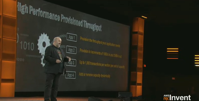Werner Vogels, chief technology officer of Amazon.com, announces the Kinesis service at Amazon Web Services' re:Invent conference in Las Vegas on Nov. 14.