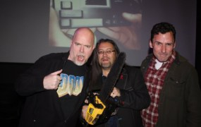 Doom anniversary attendees Tom Hall, John Romero, and Dave Taylor.