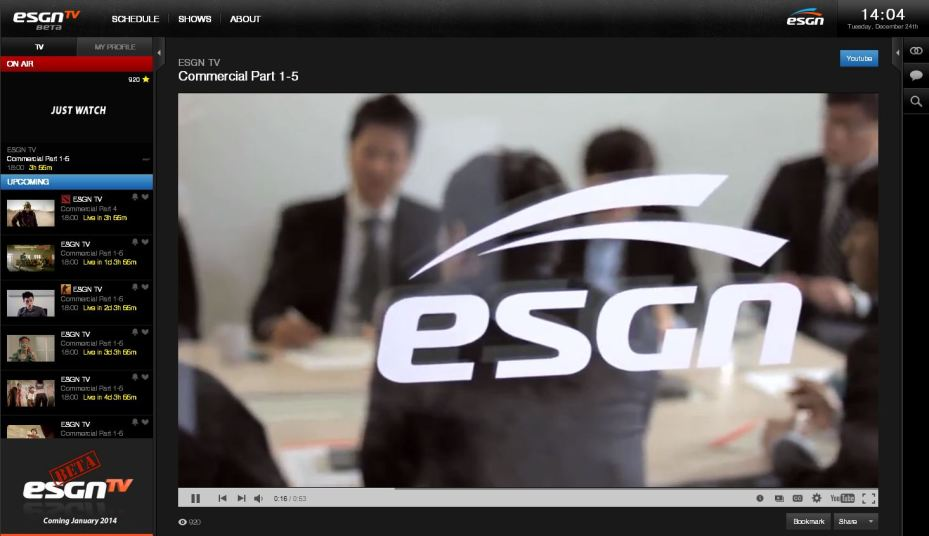 ESGN TV's homepage.