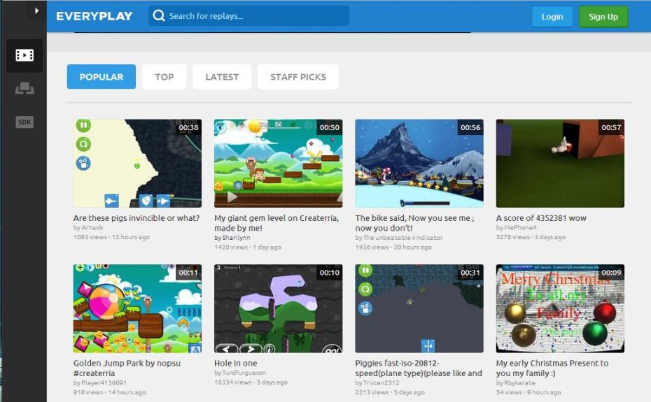 Everyplay Replay's homepage features some of the best recordings from its game.