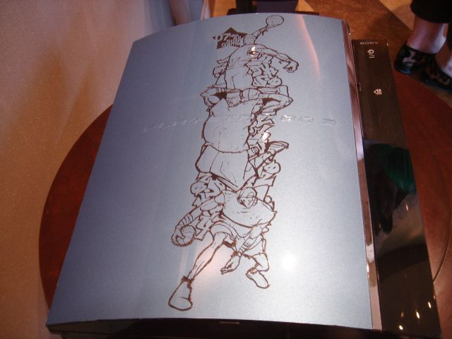 During the 2007 NBA All-Star weekend, Sony hosted a suite where it gave away a small handful of its PlayStation 3 consoles to celebrities. If you were famous, you could potentially get a rare silver PS3 like this one that has basketball players etched into the top.  Sony handed out at least seven during this event. All of them featured different custom art.