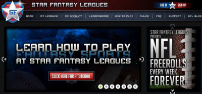 Star Fantasy Leagues web page.