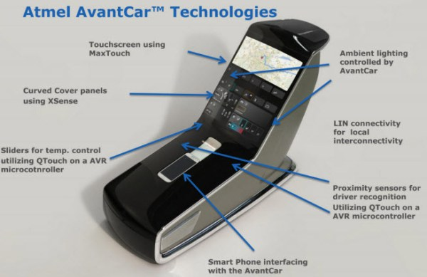 This car has two touchscreens with curved surfaces.