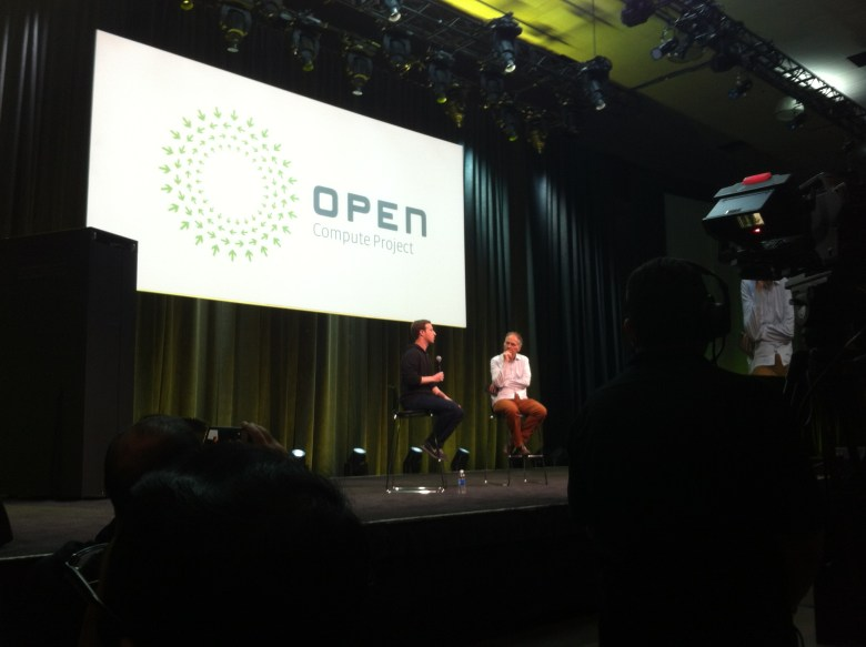 Facebook's Mark Zuckerberg talks with Tim O'Reilly at the fifth Open Compute Project Summit in San Jose, Calif., on Jan. 28.
