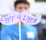 Lyft supporters at a rally in Los Angeles