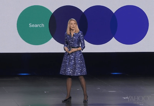 Yahoo! CEO Marissa Mayer during her keynote at CES.