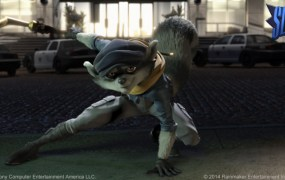 Sly Cooper in computer-generated animation.