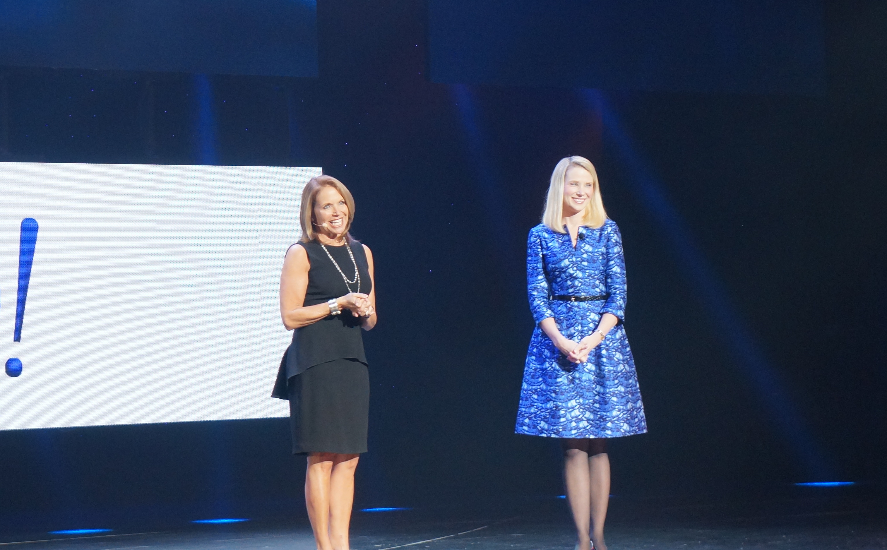 Recent Yahoo hire Katie Couric joins CEO Marissa Mayer during a keynote at CES 2014.