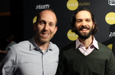 Bruce Straley and Neil Druckmann on the red carpet at the Dice Awards