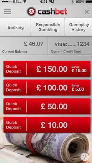 CashBet mobile screen