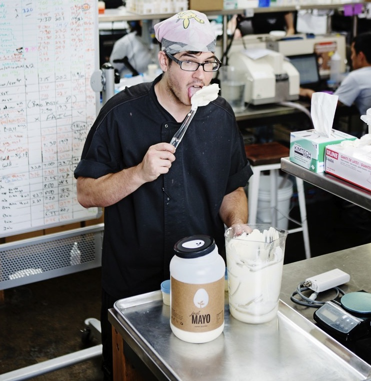 Chef Chris Jones tries out Hampton Creek's Just Mayo -- which contains no eggs.