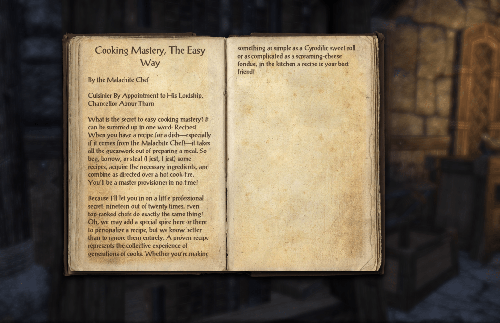 A cookbook from The Elder Scrolls Online.