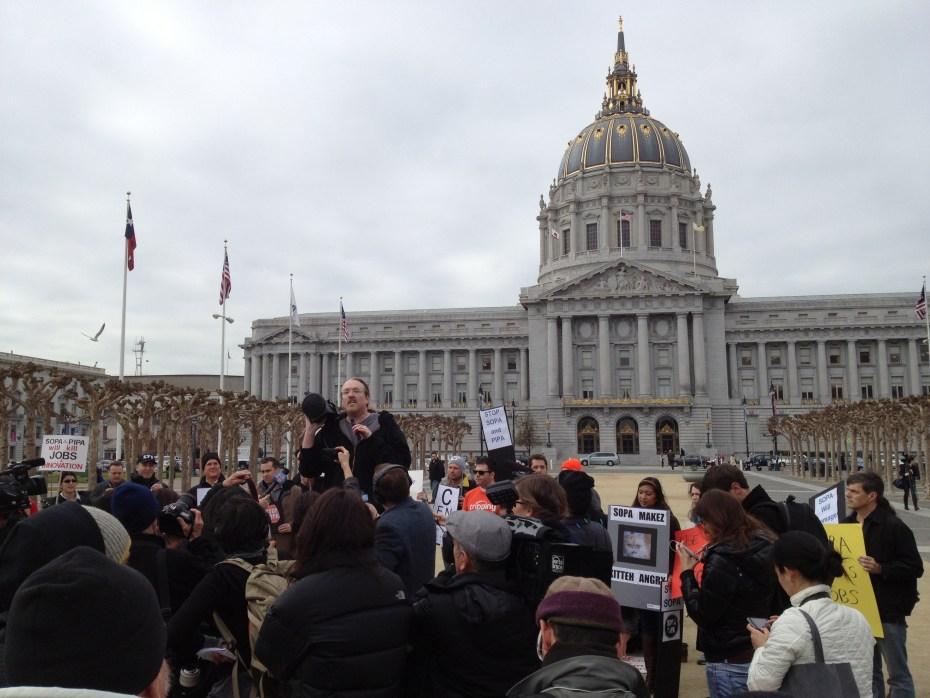 SOPA protests in San Francisco.