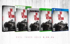The Evil Within's box art across all five platforms.