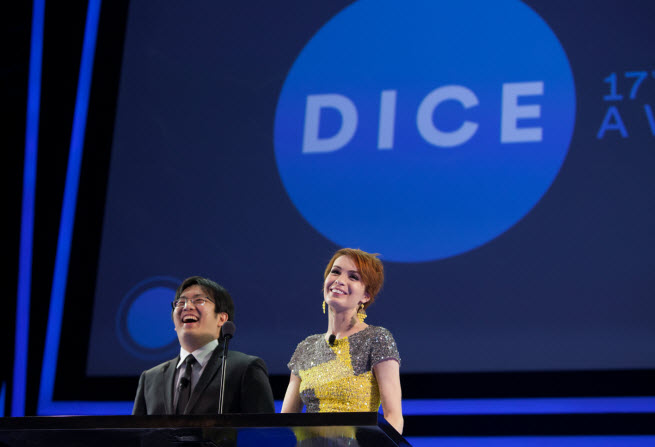 Freddie Wong and Felicia Day at Dice Awards.
