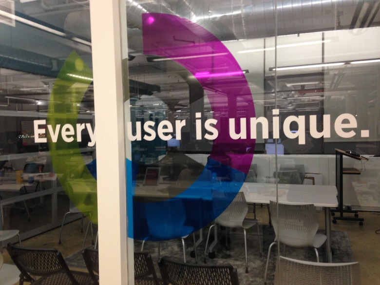 A sign on the wall of Sailthru's New York Headquarters.