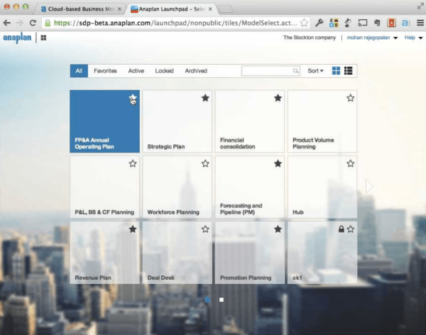 Applications inside of Anaplan's web-based software.