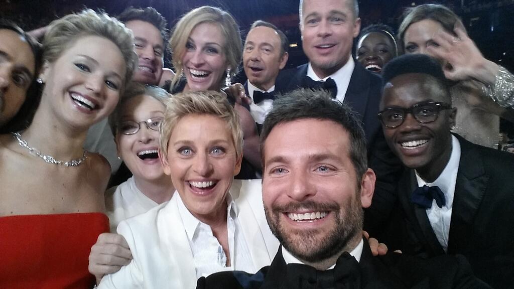 Ellen Degeneres takes a selfie at the 2014 Academy Awards