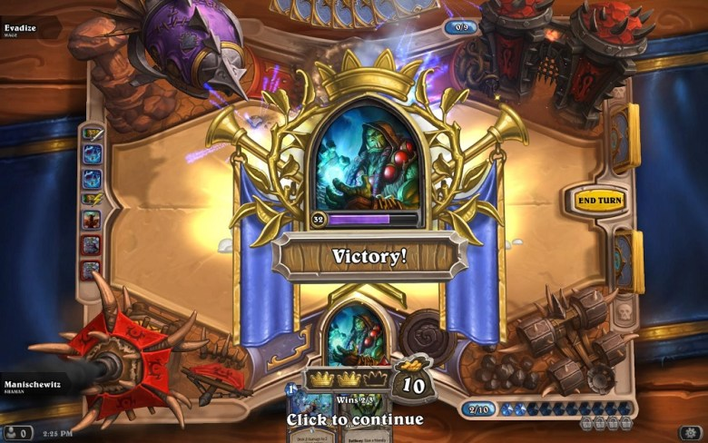 A hard-won victory in Hearthstone: Heroes of Warcraft.