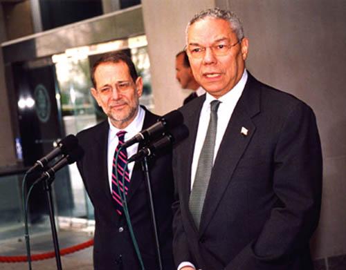 Gen. Colin Powell (right) is now a member of Salesforce's board.