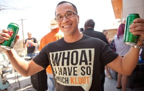 Is it about brands or fans? A T-shirt from Klout's 2011 SXSW party.