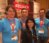 MobiSocial co-founders T. J. Purtell, Ian Vo, Monica Lam, and and Ben Dodson.