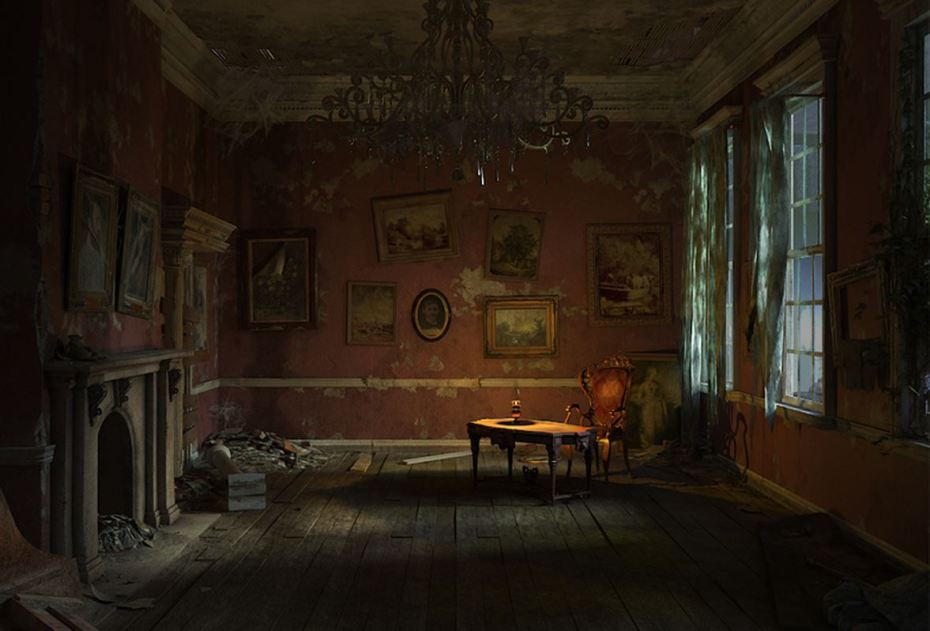 A dimly lit scene in Nancy Drew: Ghost of Thornton Hall.