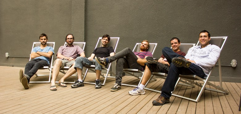 The Omnidrone team takes a siesta after raising $2 million in funding.