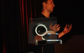 Richard Marks of Sony shows off Project Morpheus at the 2014 Game Developers Conference.