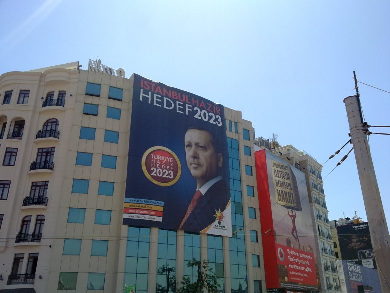 An election campaign poster for Turkey prime minister Recep Tayyip Erdogan