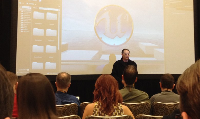 Epic Games founder Tim Sweeney breaks the news at the 2014 Game Developers Conference.